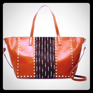 """🧡🆕LARGE Brown-Studded Tote by """"Pink Haley""""🧡"""